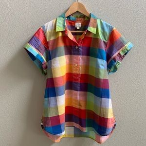 J. Crew Mixed Gingham Popover Shirt Colorful